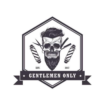 Skull barber shop hexagonal icon. Retro design template, vector illustration.