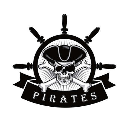 Pirate Skull With Eyepatch And Ship Helm Logo Design Vector Illustration  イラスト・ベクター素材