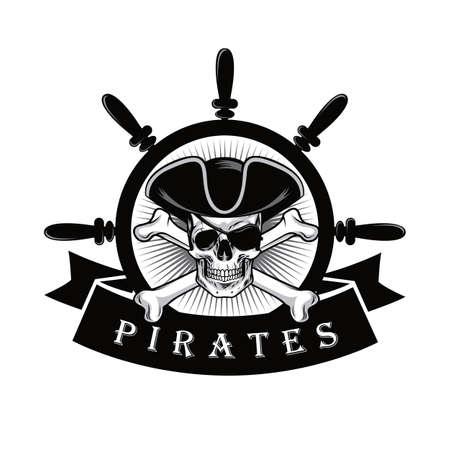 Pirat czaszka Z Eyepatch I statkiem Sterujemy loga projekta wektoru ilustrację