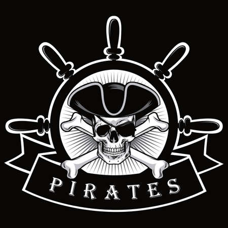 Pirate Skull With Eyepatch And Ship Helm Logo Black Background Vector Illustration