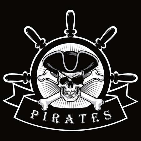 Eyepatch와 선박 조타 장치 로고 해적 두개골 검은 배경 벡터 일러스트 레이션