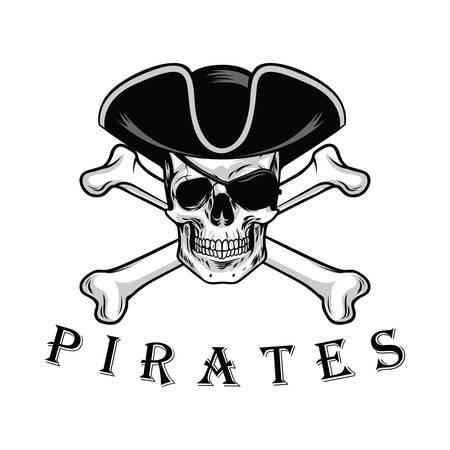Pirate Skull With Cross Bones Hat And Eyepatch Logo Design Vector Illustration