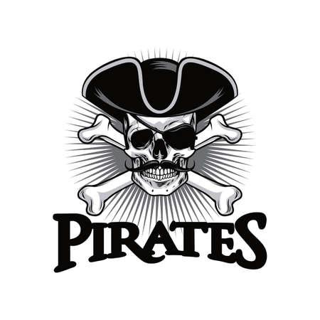 Pirate Skull With Mustache Cross Bones Hat And Eyepatch Logo Design Vector Illustration Vettoriali