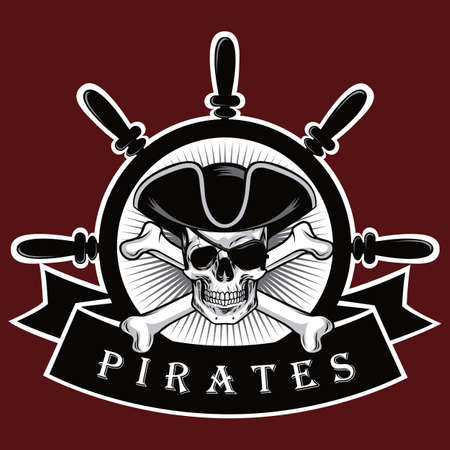 Pirate Skull With Cross Bones Hat And Eyepatch Red Background Logo Design Vector Illustration