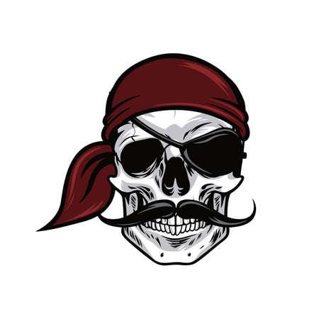 해적 머리 두개골 마스코트 벡터 디자인 일러스트 레이션