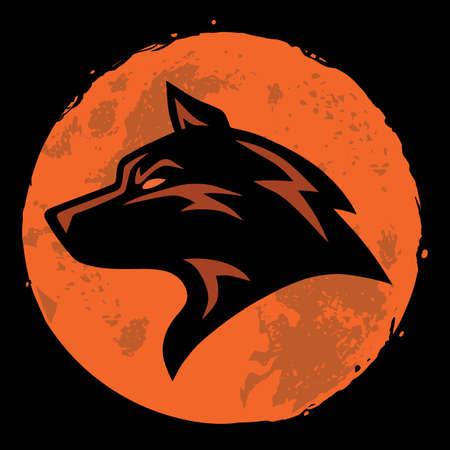 늑대와 달 로고 템플릿 벡터 디자인