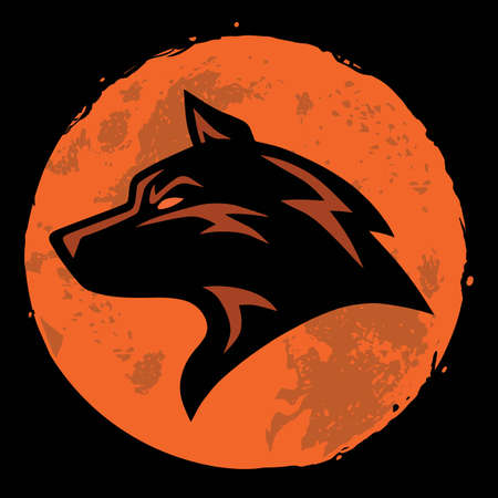 Wolf and Moon Logo Template Vector Design