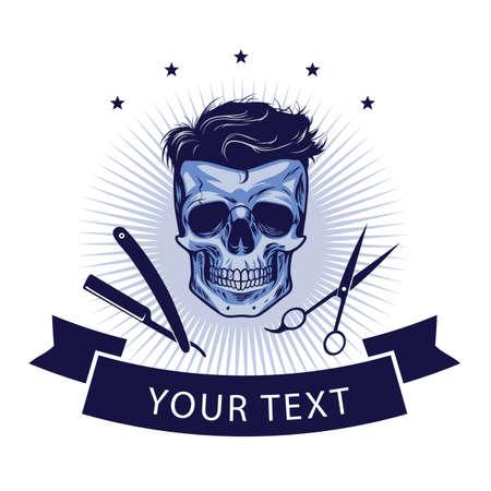 Barbershop Logo Template. Vector Retro Design Illustration Vettoriali