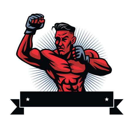 MMA fighter icon design template illustration.