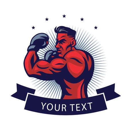 MMA fighter icon mascot design template vector illustration.