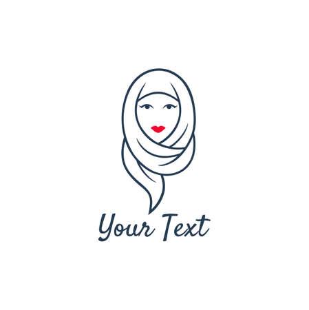 Hijab Logo. Young Lovely Muslim Girl Flat Design Logo Vector, Template.