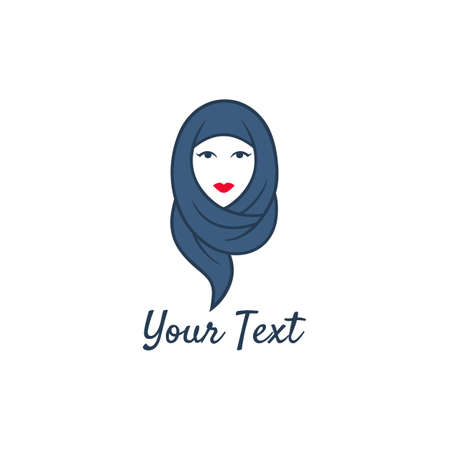 Hijab Logo. Young Lovely Muslim Girl Flat Design Logo Vector, Template.