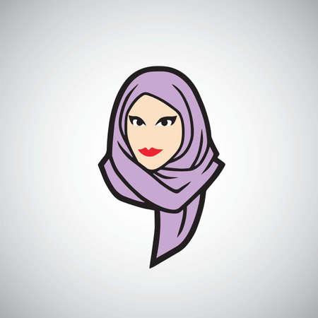 Hijab Logo Design Vector Illustration Template Vettoriali