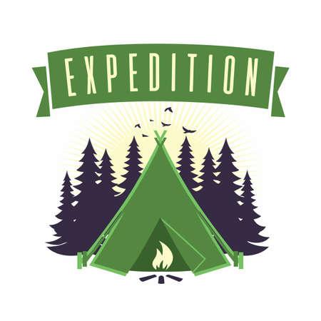 Adventure Mountain Expedition Campfire Camping Logo  Template Vector