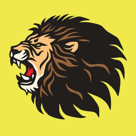 Plantilla de diseño de vector de mascota de logotipo de león rugiente