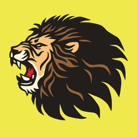 Roaring Lion Logo Mascot Vector Design Template Иллюстрация