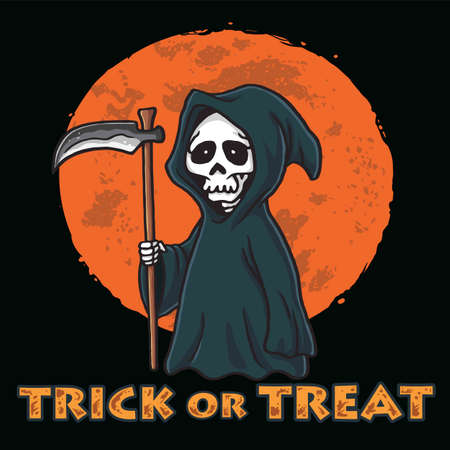 Grim Reaper with Moon Background Halloween Card Invitation Design Template