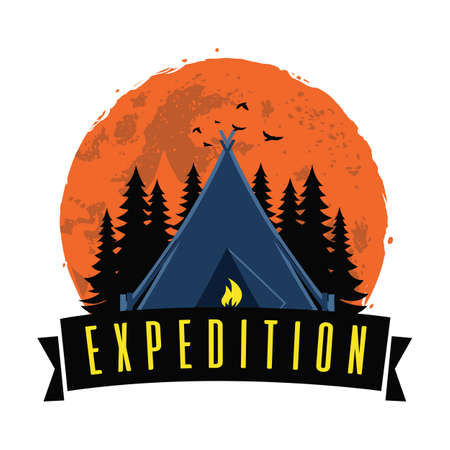 Adventure Night Expedition Campfire Camping Camp Logo Design Template Vector