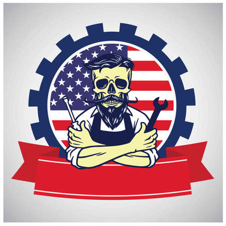USA Labor Day Skull Worker with United States National Flag Background Vector illustration Retro Design