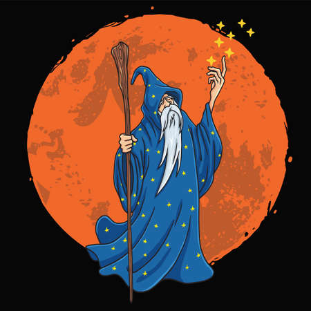 Wizard with Blue and Stars Clothes Character Design Cartoon with Moon Background Vector Illustration Vettoriali