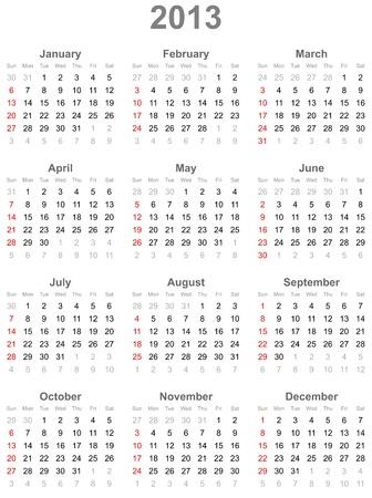Calendar for  year 2013 Illustration