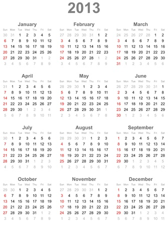 Calendar for  year 2013 Illustration