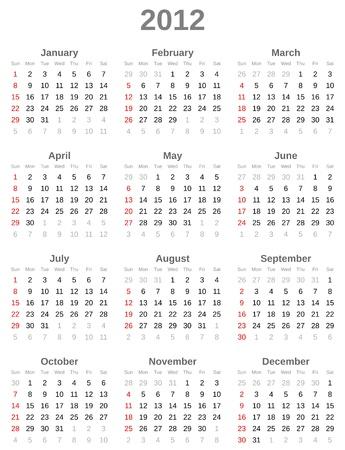 Calendar for  year 2012