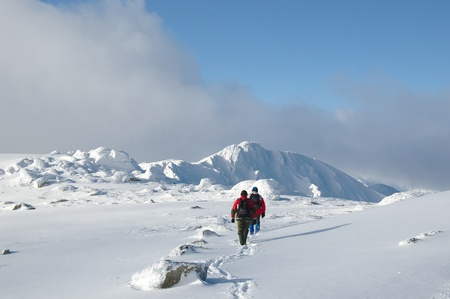 Winter walk in the mountains