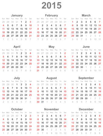 Calendar for the year 2015 Illustration