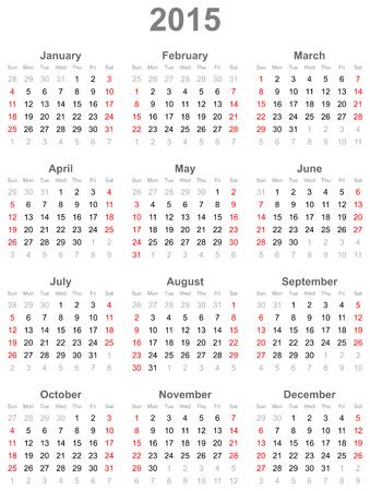 Calendar for the year 2015 Illustration