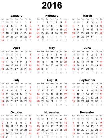 Calendar for the year 2016 Illustration