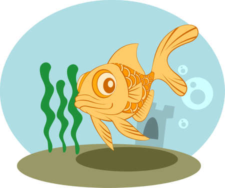 tank fish: Gold Fish Tank vector