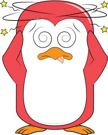 Penguin Mascot dizzy Illustration