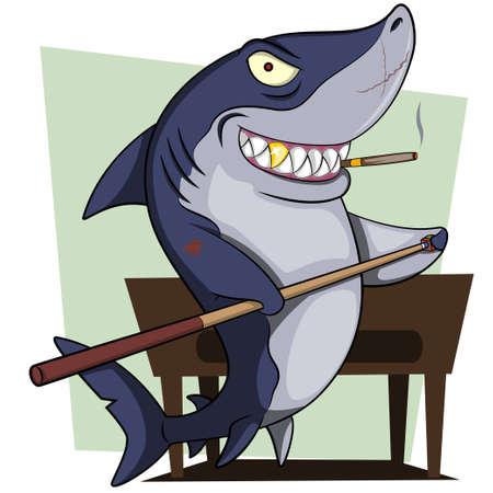 Cartoon shark playing billiard illustration Ilustração