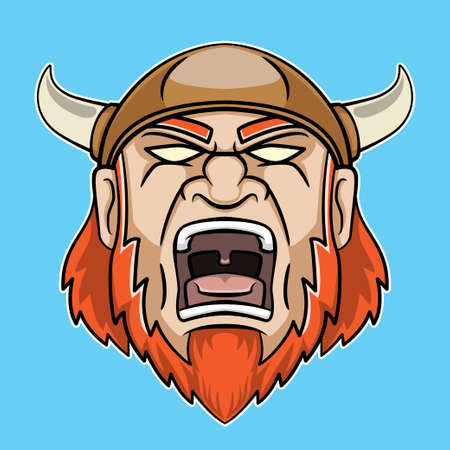 Screaming viking's head logo illustration