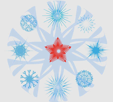 Set with snowflakes Christmas star Vector