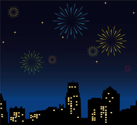 Night City celebrates New Years Eve 1012 Vector