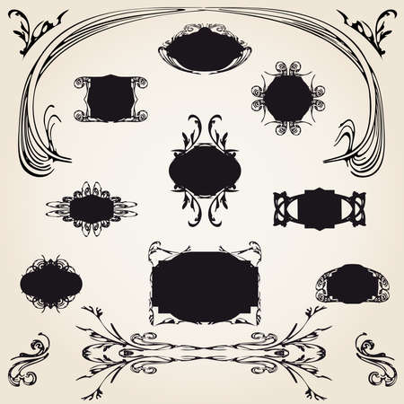 Large set of illustration old frames, plates and decorative elements  Vector