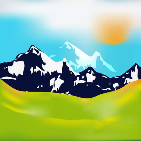 A beautiful landscape mountain meadows in the background vector  Vector