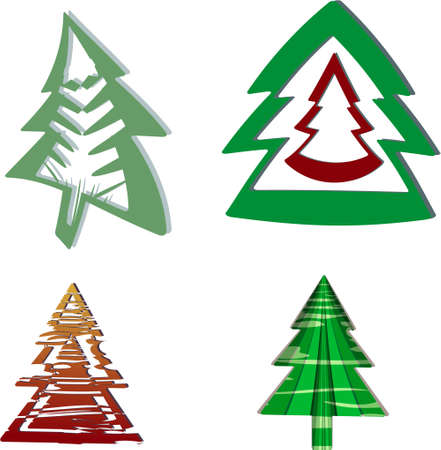 Abstract Christmas tree crazy shapes. Illustration