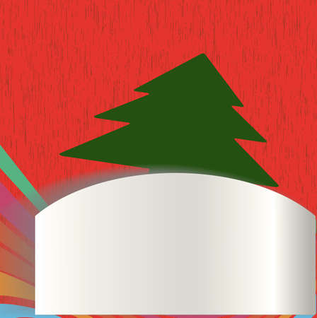 Christmas card with surprise and tree. Vector