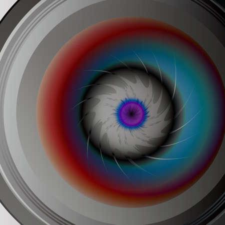 Eye in the camera lens vector illustration. Illustration