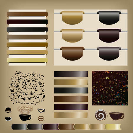 gold bar: Set of coffee vector ribbons and frames. Illustration