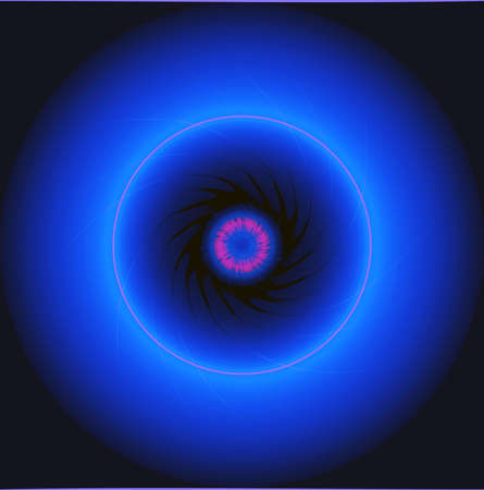 The blue neon glowing circles on a black background