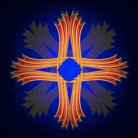religious christmas: Cross symbol on a blue background.
