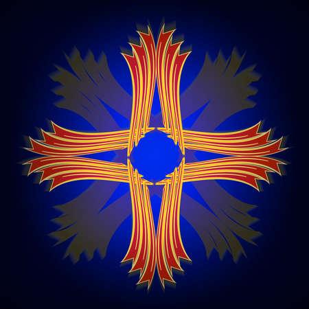 Cross symbol on a blue background.