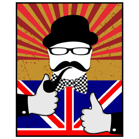 Mustache pattern.British day vector. Retro style illustration. Retro glasses, mustache and bow tie.OK gesture in hand.Vintage gentleman portrait.