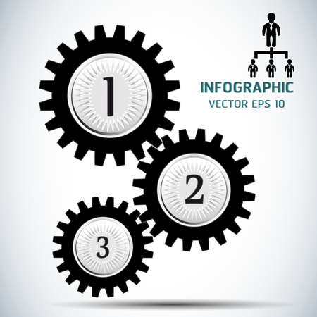 Gears teamwork template.Icon vector illustration.Infographics Number Options.Gear icon black.Business concept.