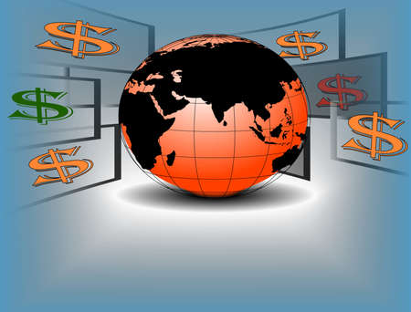 Dollar flying around a world , globe businessman holding , Financial vector illustration.