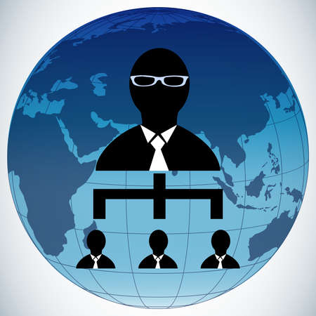 Teamwork people globe ,business man vector ,world map vector . Vector